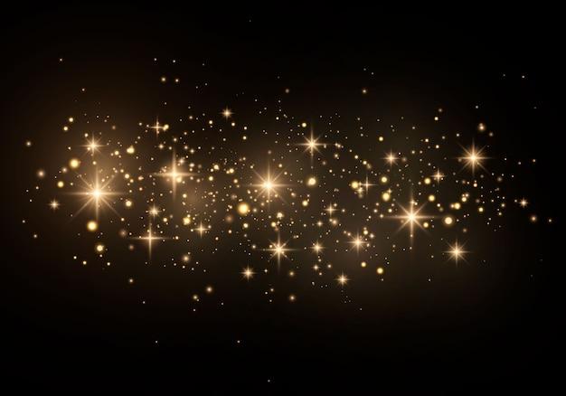 黄色い塵の粒子、火花、金色の星が特別な光で輝きます。
