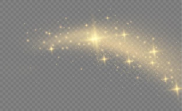 노란색 먼지 노란색 불꽃과 황금 별이 특별한 빛으로 빛납니다. 스파클링 마법의 먼지 입자. 크리스마스 투명 배경에 추상 세련된 조명 효과.