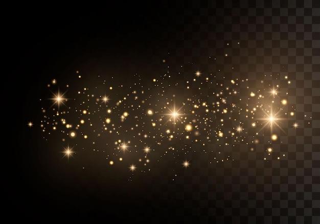 黄砂黄色の火花と金色の星が特別な光で輝いています。 Premiumベクター