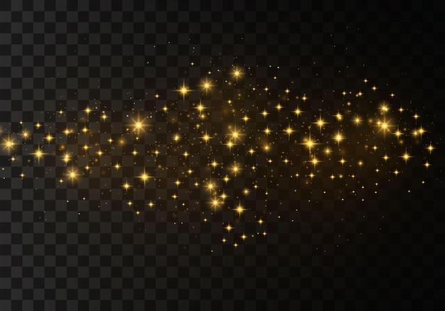 황사 황색 불꽃. 반짝이는 마법의 먼지 입자.
