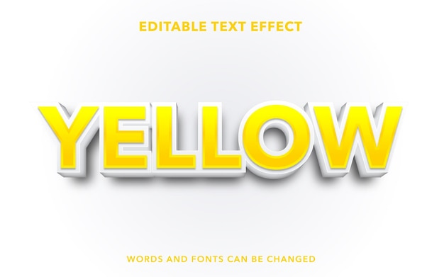 Yellow editable text effect style
