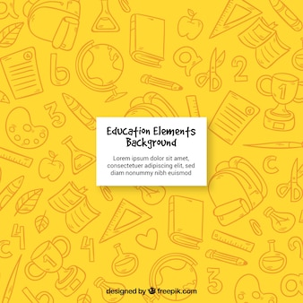 Yellow education elements background