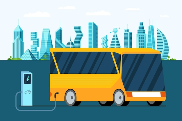 Yellow electric bus at refuelling power charging station on future city modern hybrid futuristic