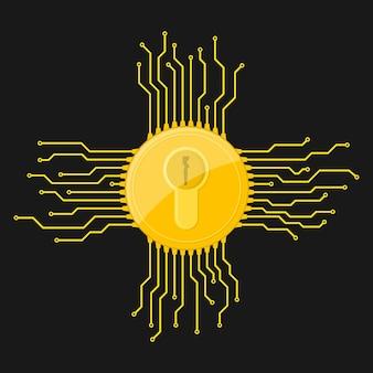 フラットなデザインの黄色の電子ロックアイコン。情報セキュリティの概念