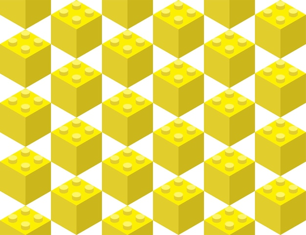 Yellow elements from the children s constructor assembled in a seamless pattern. pop art style vector illustration