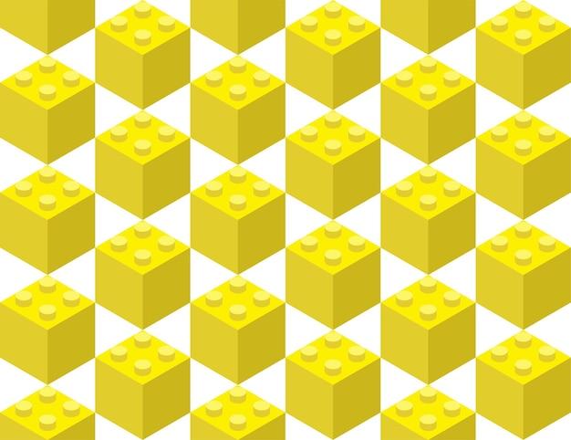 シームレスなパターンで組み立てられた子供のコンストラクターからの黄色の要素。ポップアートスタイルのベクトル図
