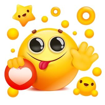 Yellow emoji 3d smile face cartoon character holding social network icon
