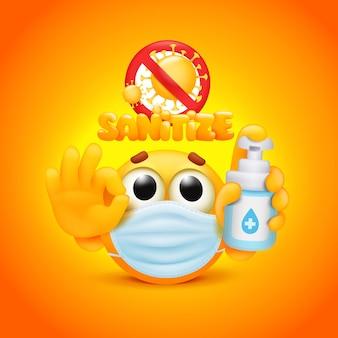 Желтый смайлик мультипликационный персонаж с бутылкой дезинфицирующего средства в руке. векторная иллюстрация