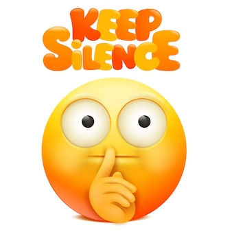 Yellow emoji cartoon character with finger near the mouth. keep silence sign.