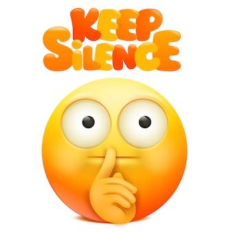 口の近くの指で黄色の絵文字漫画のキャラクター。沈黙のサインをしてください。