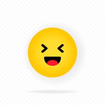 黄色の絵文字アイコン。笑い。絵文字を笑っています。笑顔の絵文字で幸せそうな顔。チャット、コメント。