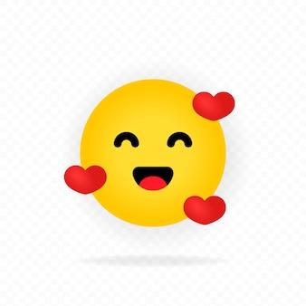 黄色の絵文字アイコン。ロマンチックな感情。絵文字が大好きです。ハート。笑顔の絵文字で幸せそうな顔。チャット、コメント、リアクションエモート。ソーシャルメディアの概念。ベクトルeps10。透明な背景で隔離。