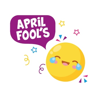 Yellow emoji with april fools bubble speech with confetti.  illustration