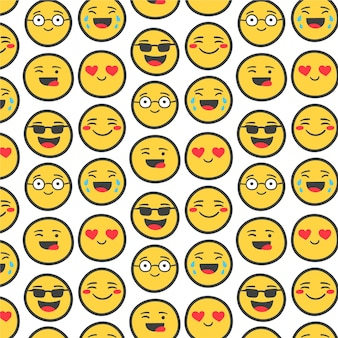 Yellow emojis with outline seamless pattern template