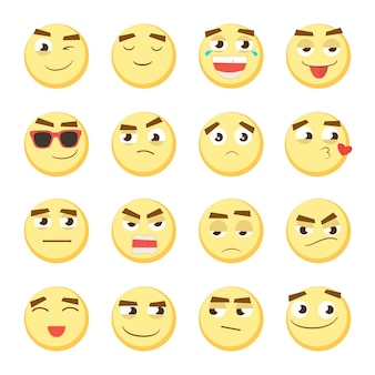 Yellow emoticon set. collection of emoji. 3d emoticons. smiley face icons isolated on white background. vector eps 10