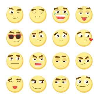 노란색 이모티콘 세트입니다. 이모티콘 모음입니다. 3d 이모티콘. 웃는 얼굴 아이콘 흰색 배경에 고립입니다. 벡터 eps 10