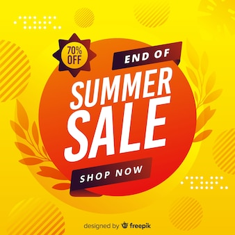 Yellow end of summer sales background