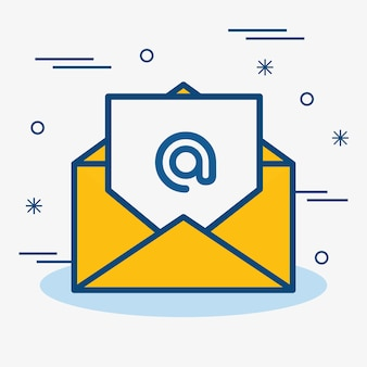 A yellow envelope containing a letter with an arroba. vector illustration.