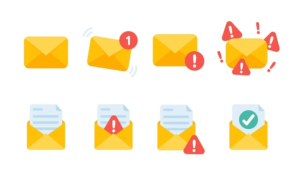 노란색 봉투입니다. 온라인 채널을 통한 커뮤니케이션 및 이메일 알림의 개념.