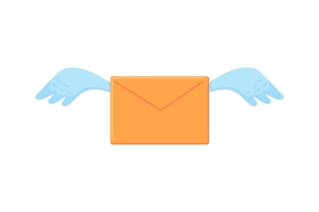 Yellow envelope with wings letter flies love message or notification vector icon