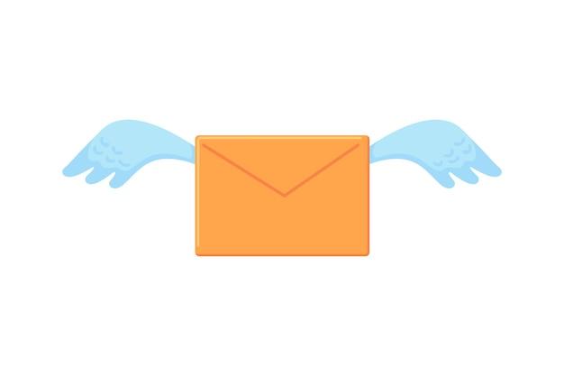 翼文字ハエ愛メッセージまたは通知ベクトルアイコンと黄色の封筒