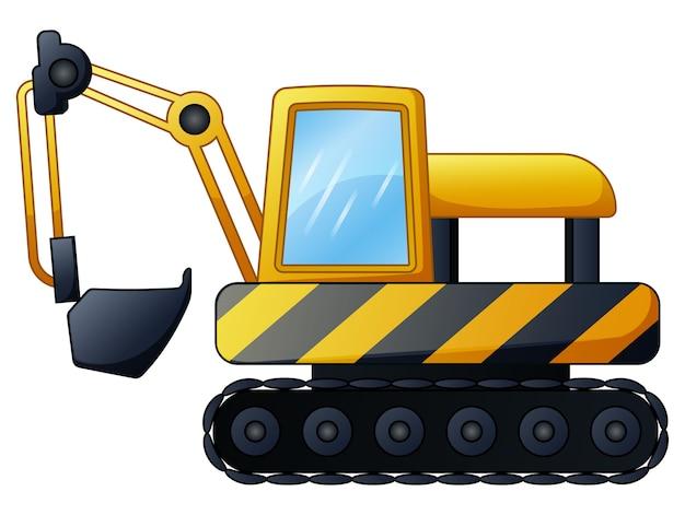 白い背景にある黄色の掘削機