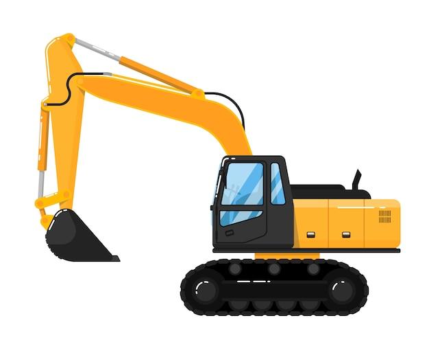 Yellow excavator isolated on white