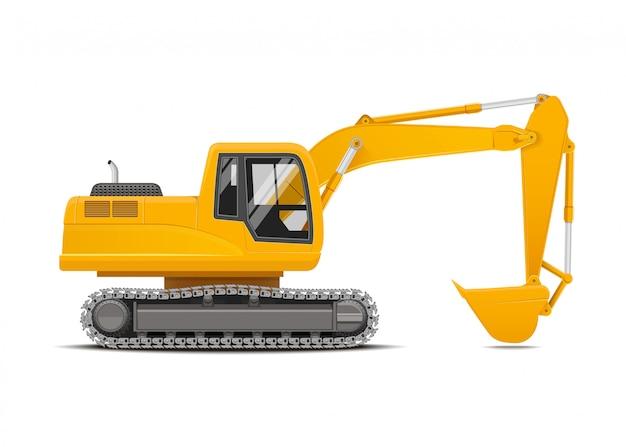 Yellow excavator realistic