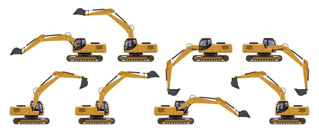 Yellow excavator side view in different action