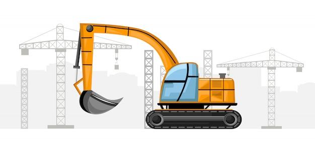 Yellow excavator with crane on background
