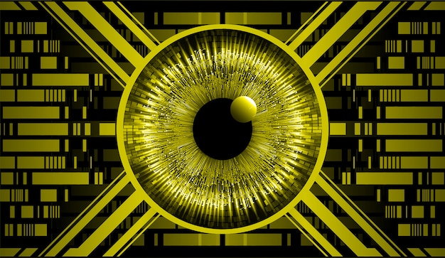 Yellow eye cyber circuit future technology concept background