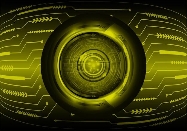 黄色い目サイバー回路将来の技術コンセプトの背景