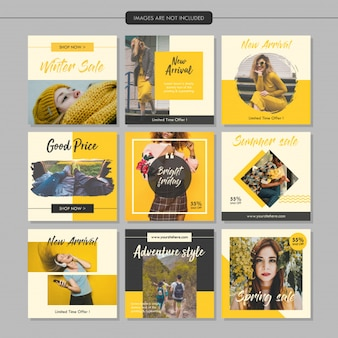 Yellow Fashion Social Media Post Template