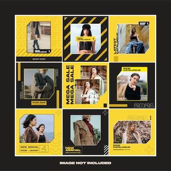 노란색 패션 스트리트웨어 소셜 미디어 인스 타 그램 템플릿 게시물
