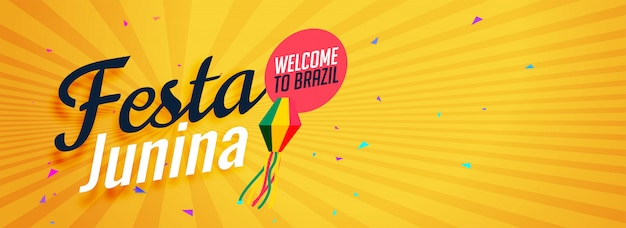 Yellow festa junina banner