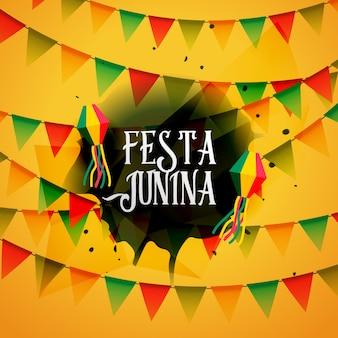 Festa junina sfondo con ghirlande colorate