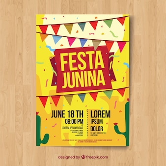 Yellow festa junina poster template
