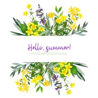 옐로우 필드 꽃, 수채화 스트라이프, 손으로 그린