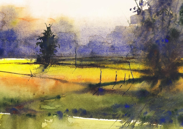 종이에 마을 수채화 그림의 노란색 필드