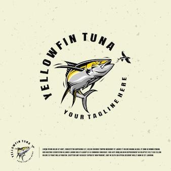 Желтый плавник тунца иллюстрации логотип