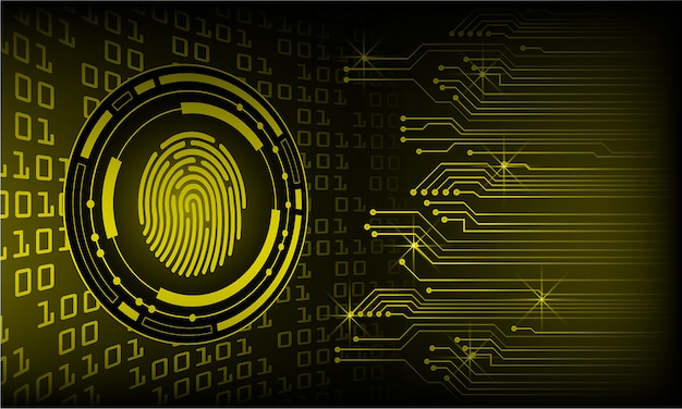 Yellow finger print cyber circuit future technology concept background