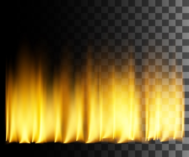 Yellow fire abstract effect on transparent background.
