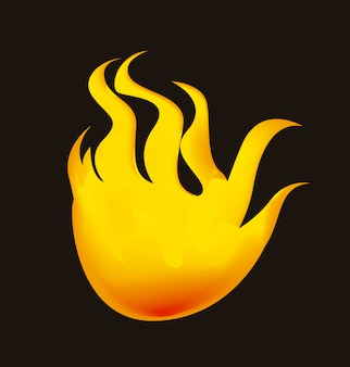 Yellow fire over black background vector illustration