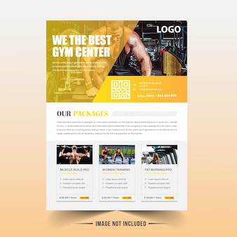 Yellow fitness / gym flyer template
