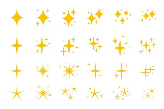 노란색 평면 반짝 기호 아이콘 세트.