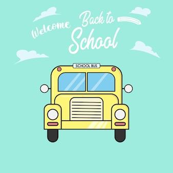 Yellow flat style school bus