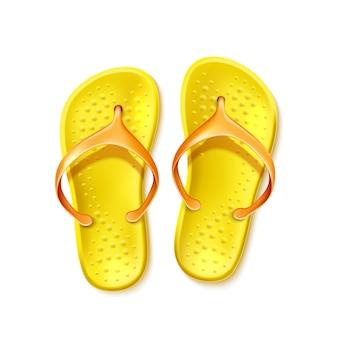 Yellow flip flops, beach footwear realistic slippers