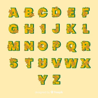 Yellow floral alphabet in 60's stye