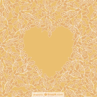 Yellow floral background surrounding a yellow heart