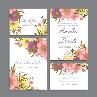 Yellow floral background wedding set
